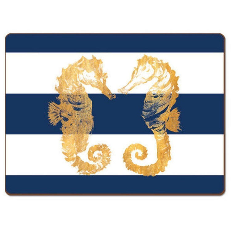 Blue and white horizontal striped placemat with two yellow seahorses facing each other.