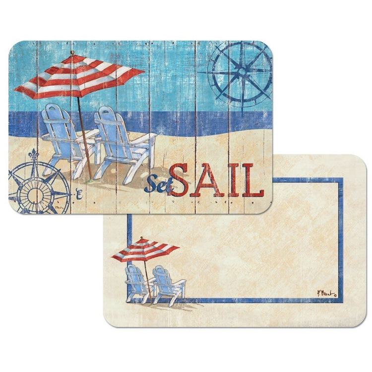"Both sides of same placemat.  Tan fades to blue beach scene with 2 chairs on beach with red/white striped unbrella.  ""Set Sail""."