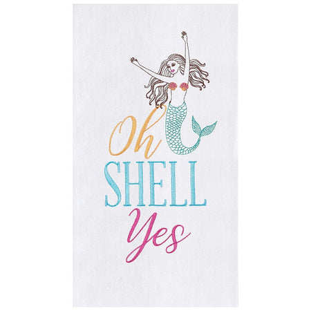 "White flour sack kitchen towel embroidered with a mermaid ""oh SHELL yes"".  Pastel colors."