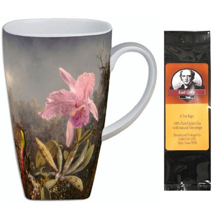 "Grande cup with pink orchid growing in bog look. Package of tea on right, text ""Earl Grey Tea"""