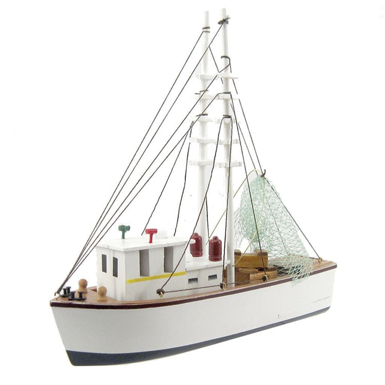 White wood model shrimp boat.