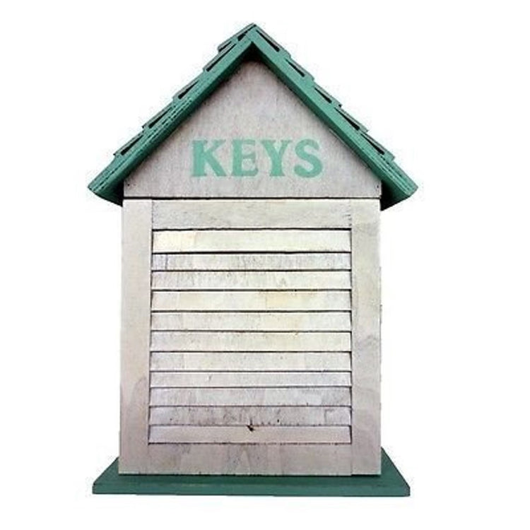 "House shaped box with teal roof and white wash walls ""KEYS"""