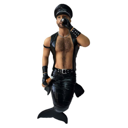 Mermaid figurine ornament.  Smoking a cigar he is dressed in black leather and hat.