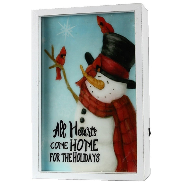 Rectangle box decor with snowman and cardinals.