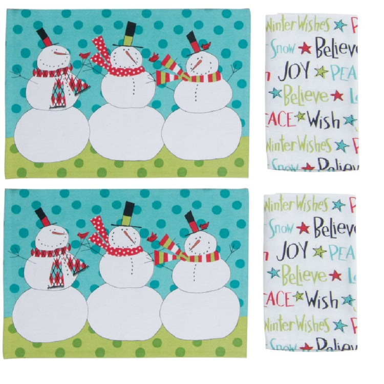 "2 placemats in blue and green showing 3 festive snowman and 2 matching napkins ""Winter Wishes Believer Wish Joy Peace""."