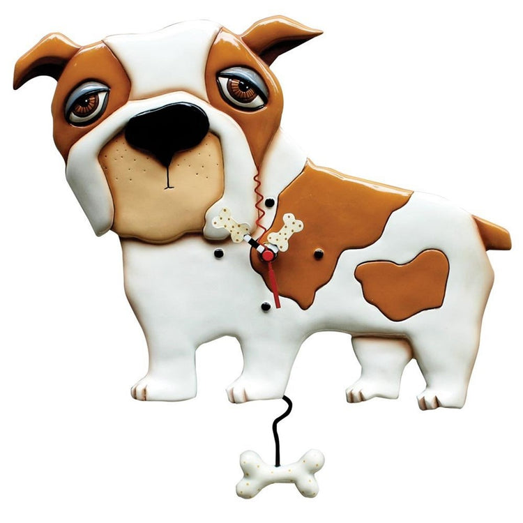 White and brown bulldog design clock. The hands are shaped like bones and so is the pendulum.