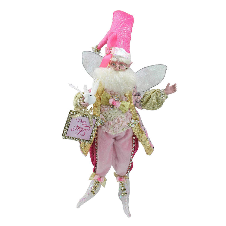 "Male fairy figure with wings wearing pink holding sign ""Never lose Hope""."