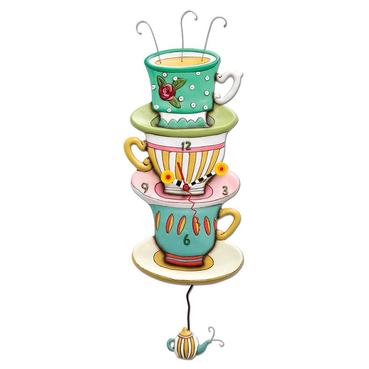 3 stacked teacups designed wall clock with teapot pendulum.