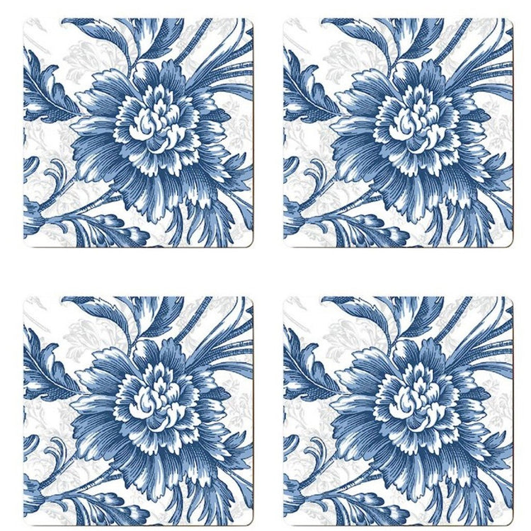 4 square coasters showing a dark blue floral design on a white background.