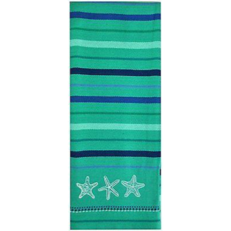 Striped dishtowel with embroidered starfish middle bottom.  Green and blue stripes.