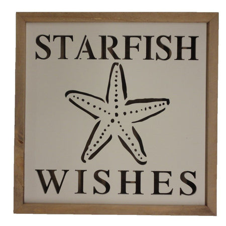 Starfish Wishes Sign, Shadow Box Effect with Yellow Back Lighting