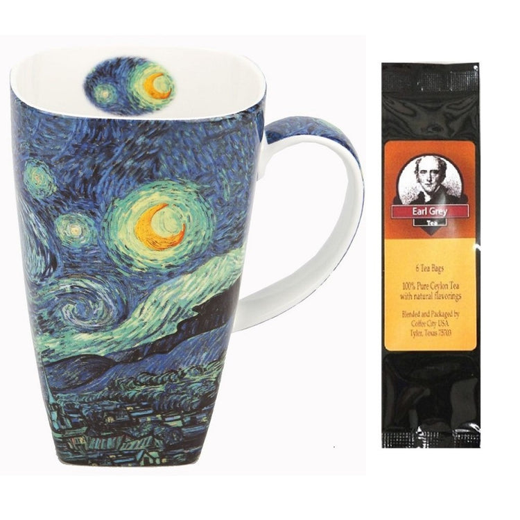 Coffee cup imprinted with Van Gogh's Starry Night.  Earl Grey tea package.