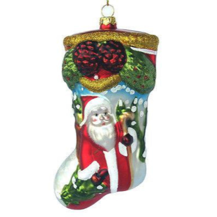 Stocking shaped figurine ornament with Santa Claus.