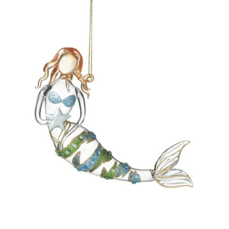 Mermaid Holding a Starfish Ornament With Glitter Stripes