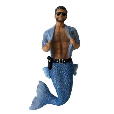 Mermaid figurine ornament.  Dressed in blue with open shirt, gun belt and  badge.