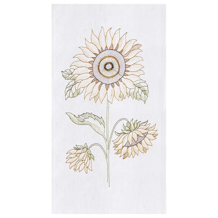Sunflower Embroidered Flour Sack Dishtowel