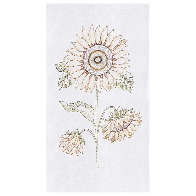 White flour sack kitchen towel embroidered with a sunflower.