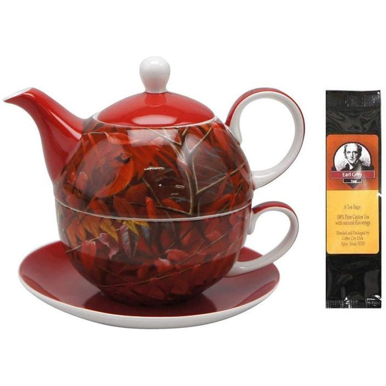 Cardinal and Sumac Tea for One in Matching Gift Box and One Package of Tea Bags