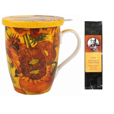 Van Gogh Sunflowers Tea Mug, Infuser and Lid in Gift Box and 6 Tea Bags