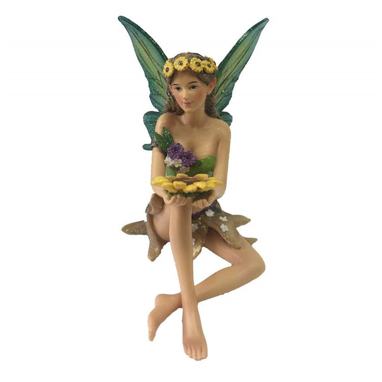 Fairy figurine shaped hanging ornament.  She is wearing a sunflower headband carrying a large sunflower.