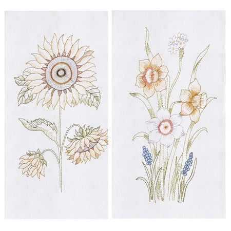 2 Embroidered Flour Sack Dishtowels, Sunflower and Daffodil