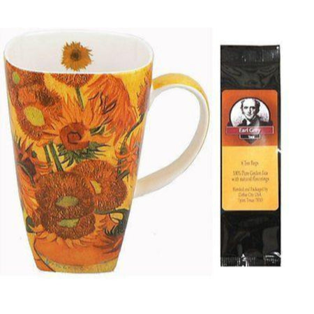 Van Gogh Sunflower Grande Coffee Mug Matching Gift Box and Tea Gift Package
