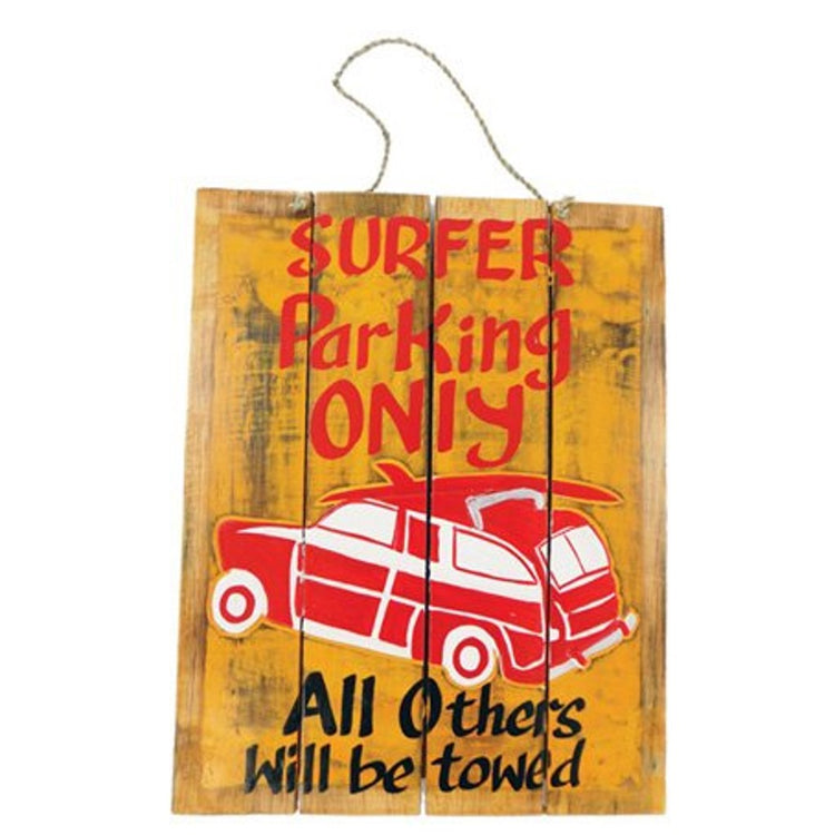 Bright yellow rectangle with with red car and lettering.  Rope hanger.