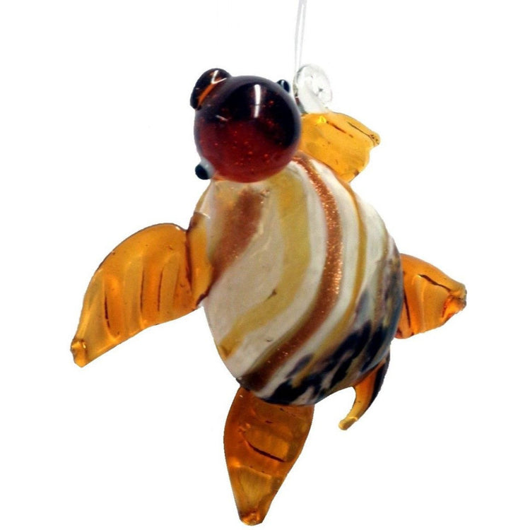 Glass Sea Turtle Hanging Christmas Ornament Tan with White Stripe Back