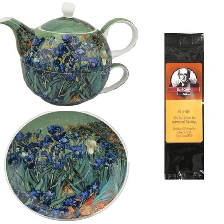 Tea for one and saucer imprinted with Van Gogh's Irises.  Earl Grey tea package.