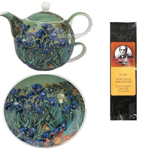 Van Gogh Irises Tea for One in Matching Gift Box and Gift Packaged Tea