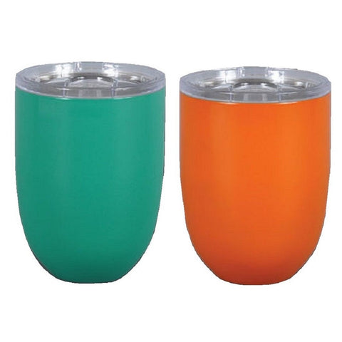 Magnolia Lane Stainless Steel Stemless Wine Cup, 10 oz Orange & Teal
