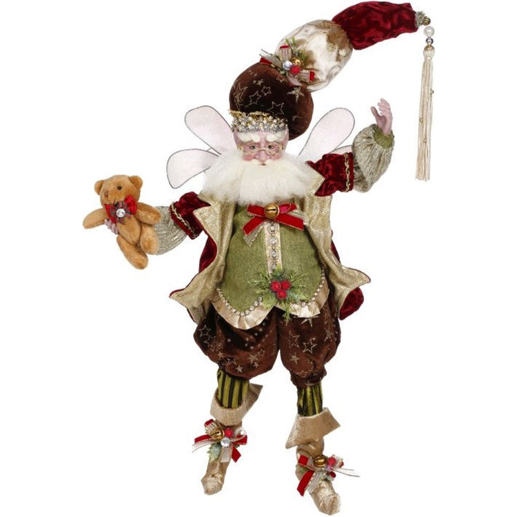 Male fairy figure with wings holding a teddy bear. Maroon and greens