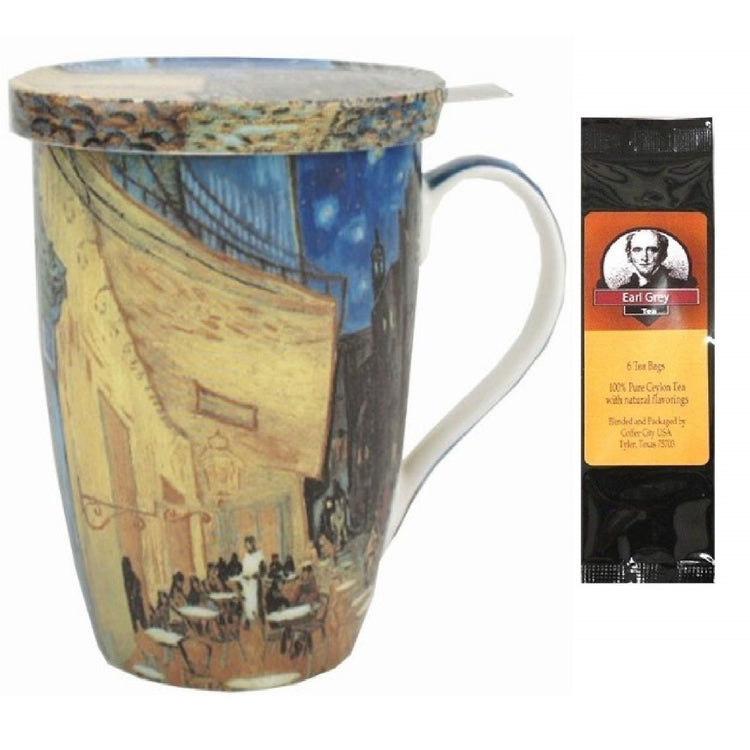 Tea cup with lid and infuser imprinted with Van Gogh's Terrace at Night.  Earl Grey tea package.