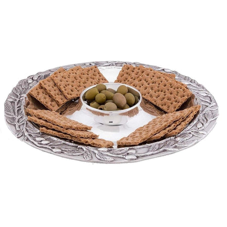 "Sand-Cast Olive Pattern Aluminum Large Chip and Dip Tray, 16"" Diameter"