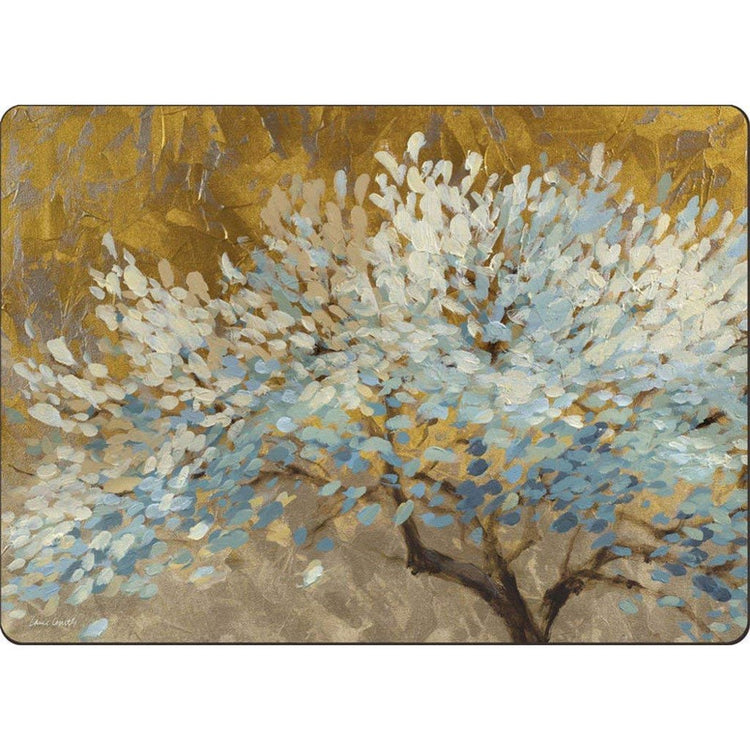 Hardboard placemat with yellow and tan background. Placemat shows a flowering tree with leaves in different blues.