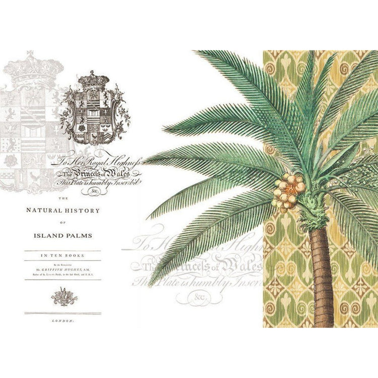 White hardboard placemat featuring a palm tree, green and yellow pattern, and royal seal.