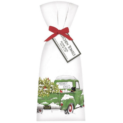 2 Ribbon Tied Holiday Truck Green Flour Sack Towels