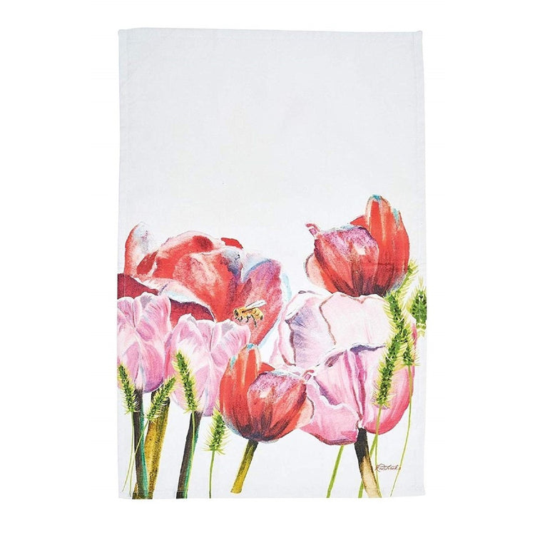 White kitchen towel with pink tulips and bumble bee.