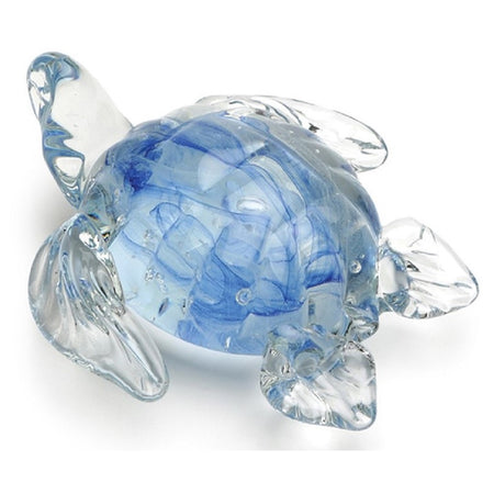 Textured look clear glass sea turtle in swimming position. Main body is light blue tinted.