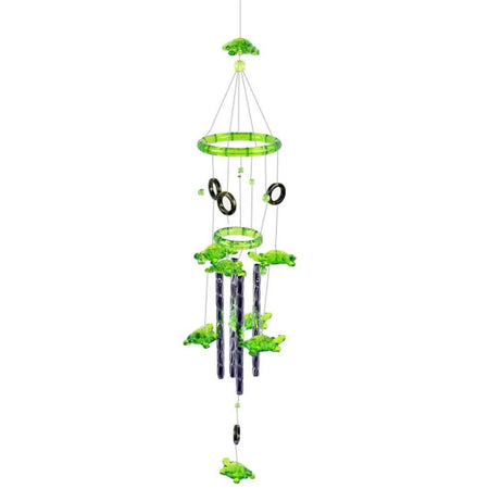 Wind chime with green acrylic turtles and silver metal cylinders.