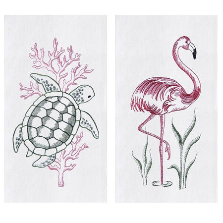 2 white towels. 1 shows a green turtle & pink coral. 1 shows a pink flamingo and green grass.