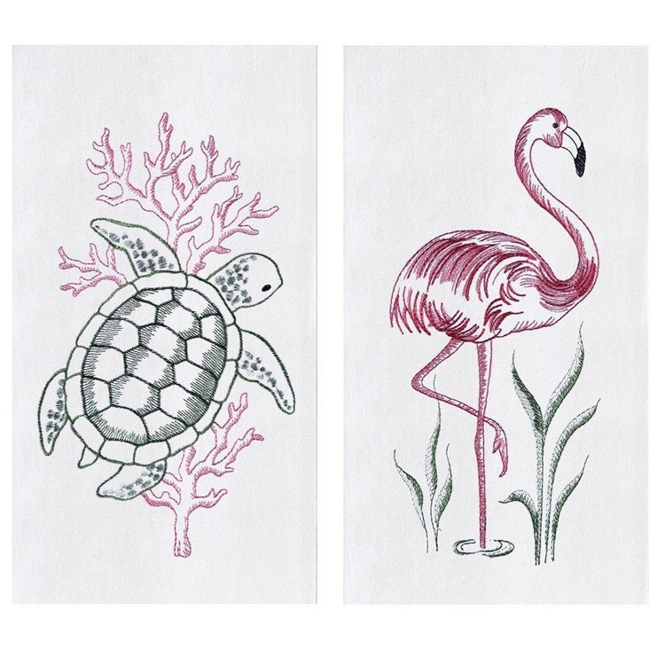 2 Embroidered Flour Sack Dishtowels Turtle and Flamingo