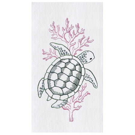 Sea Turtle Embroidered Flour Sack Dishtowel