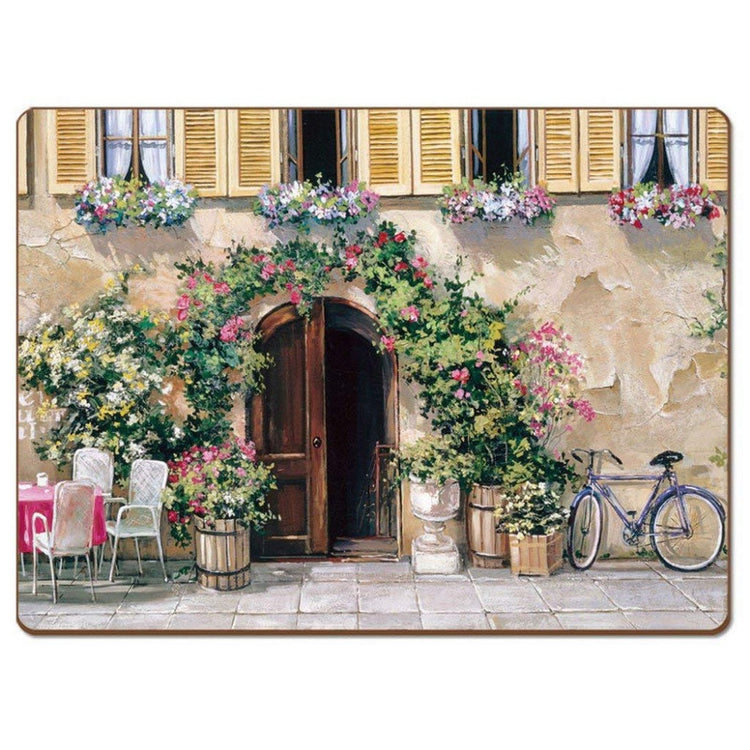 4 Cala Home Premium Hardboard Placemats Table Mats, Tuscan Doorways