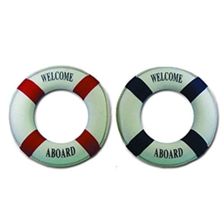 2 life preserver ring decorations. Both are cream colored and say welcome aboard. 1 has red accents, 1 has blue.