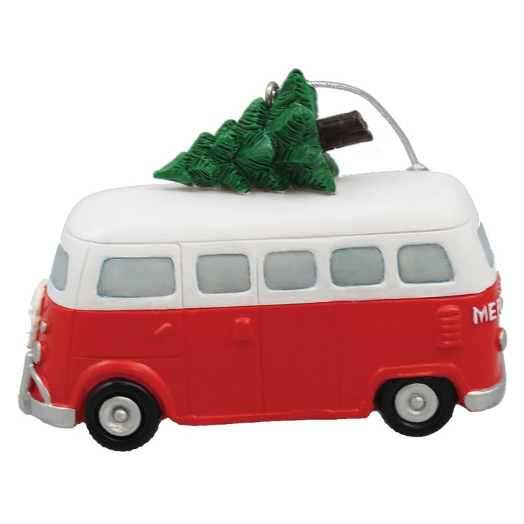 Red and white van with Christmas tree on roof figure hanging ornament.