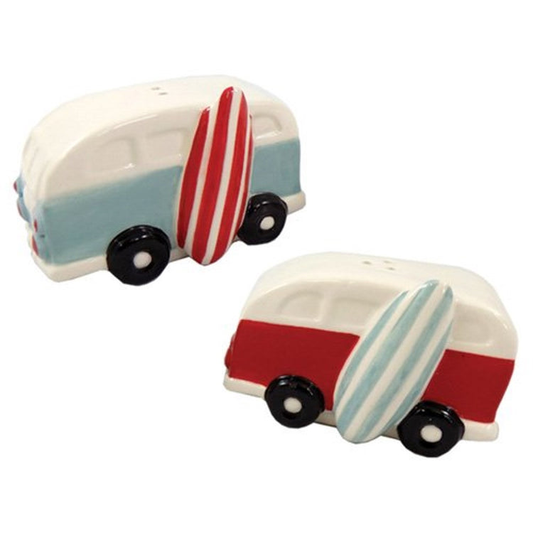 Van design salt and pepper. One blue, one red with striped surfboard leaning on sides.
