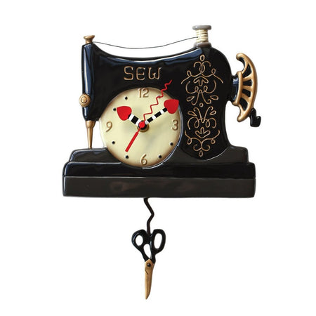 Vintage Stitch Clock with Swinging Scissors Pendulum