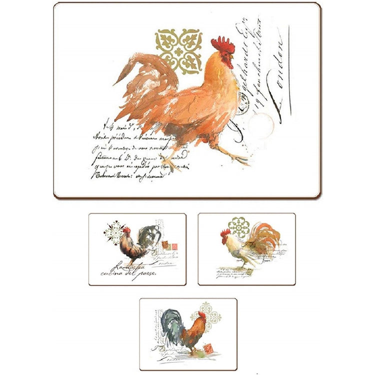 4 Cala Home Premium Hardboard Placemats Table Mats, Watercolor Rooster