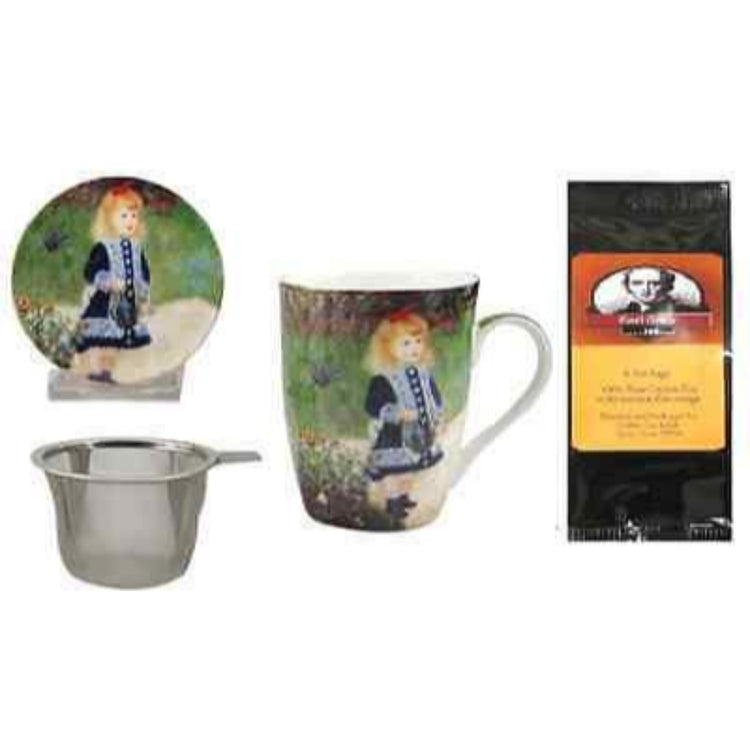 Renoir Girl with Watering Can Tea Mug, Infuser and Lid in Matching Gift Box and Tea Gift Package